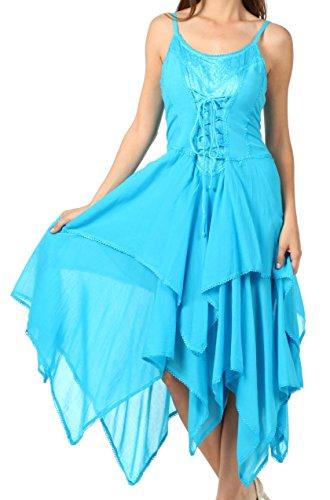 Sakkas 0131 Corset Style Bodice Jaquard Lightweight Handkerchief Hem Dress - Turquoise - One Size Plus