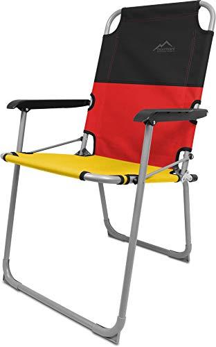 normani Leichter Klappstuhl Angelstuhl Campingstuhl bis 90 Kg Belastbarkeit Farbe Schwarz/Rot/Gelb