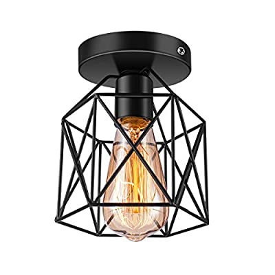 Licperron Semi-Flush Mount Ceiling Light E26 E27 Retro Black Industrial Ceiling Light Fixture for Porch Hallway Kitchen Farmhouse Lighting 1 Pack