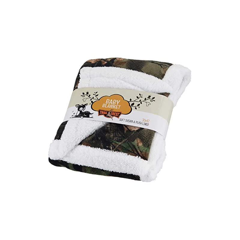 crib bedding and baby bedding baby infant camo accent soft sherpa and plushed lined coral fleece gift blanket (everest white)