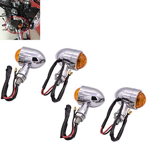 HANEU Mini Motorrad Indikator Blinker Kugelform Universal schwarz Motorrad Schredder Bobber Cafe City Sport Fahrrad 12V (4er Pack)