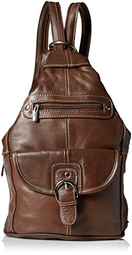 Convertible Back Pack Purse, Mid Size Tear Drop Shoulder Bag, Backpack, Sling Bag. Genuine Leather (Dark Brown)