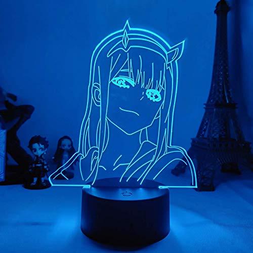 Lámpara de ilusión 3D LED noche luz anime cero dos niños bebé niñas dormitorio decoración Darling in The Franxx mejor cumpleaños regalos de vacaciones para niños