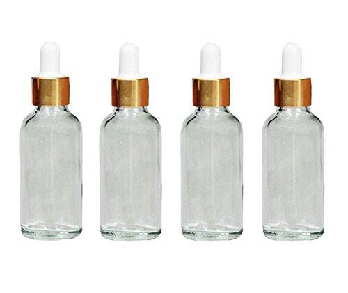 Glasflaschen mit Pipette, für ätherisches Öl, Parfüm, Make-up, Kosmetika oder als Vorratsfläschchen, transparent, 4 Stück, durchsichtig, 30 ml