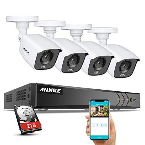 ANNKE FC800 DVR Ultra HD 4K 8 Canali Sistema di telecamere di sicurezza con 4 telecamere di sorveiglianza visione notturna a colori 24/7 all'aperto/interno con HDD 2TB