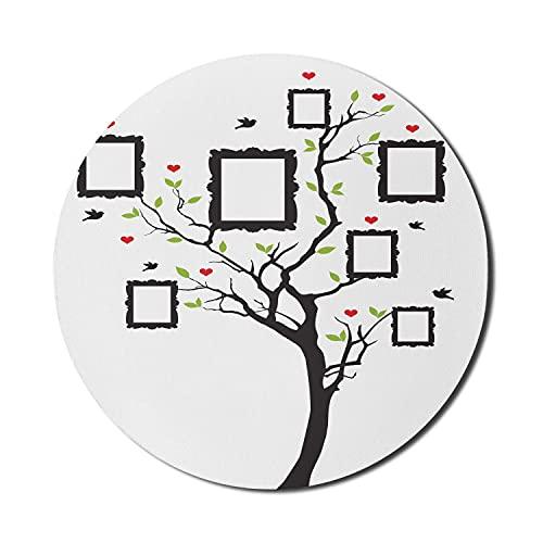 Stammbaum Mauspad für Computer, Bilderrahmen mit blühenden Blättern und Herz, rundes, rutschfestes, dickes, modernes Gaming-Mousepad aus dickem Gummi, 8 'runde, hellgrüne Holzkohlel Grau