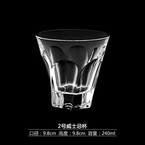 Swing kristal bierglas loodvrij glas whisky glas, bar wijn wijn whiskey kopje thee vierkante glazen, NO3 lili (Color : No2)