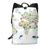 Homebe Mochila Unisex, Mochilas de Marcha Animal Map of The World Printed Primary Junior High Cute Bag Bookbag Elementary