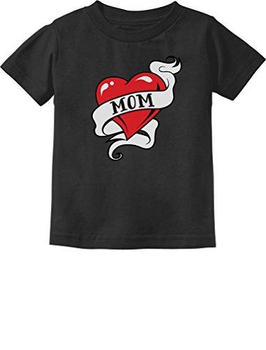 Mom Heart Tattoo for Mother's Day Love Mom Toddler/Infant Kids T-Shirt 3T Black