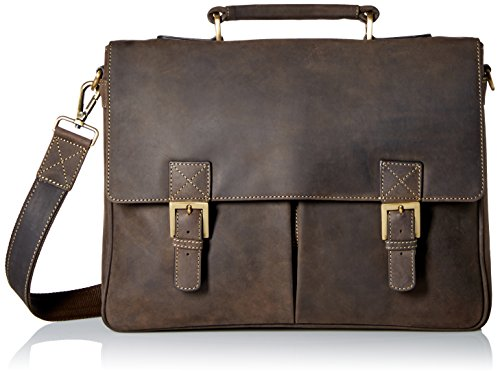 Visconti Berlin Leather Twin Buckle Briefcase with Detachable Strap, Brown