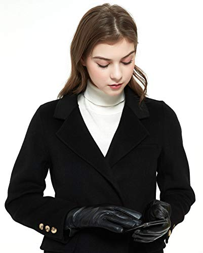 ZLUXURQ Guantes de conducción de invierno con pantalla táctil de piel de cordero genuina suave para mujer con forro de cachemira