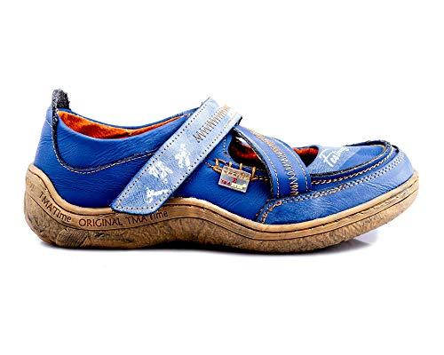 TMA 1655 Damen Halbschuhe Leder blau - EUR 40