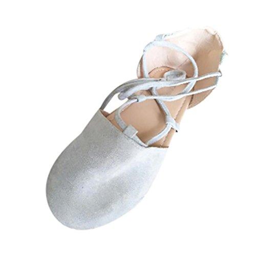 Logobeing Sandalias Mujer Verano Alpargatas Planas con Cordones para Mujer Zapatillas Moda Cerrado Zapatos (37, Gris)