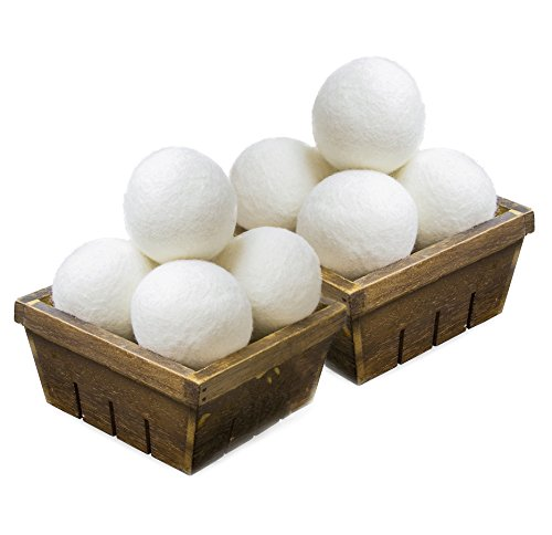 SnugPad XL Wool Dryer Balls, Natural Fabric Softener 100% Organic New Zealand Wool, Anti Static, Lint Free, Odorless, Chemical Free, Reduces Wrinkles, Baby Safe, Save Energy & Time, White 8 Count