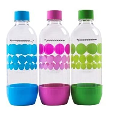 Original Sodastream Three Pack 1 Liter Carbonating Bottles - Lasts 2 years - Purple, Blue, and Green