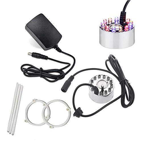 Alltop Ultraschall-Nebelmaschine Fogger Luftbefeuchter 12 LED Springbrunnen Teich mit Netzteil Silber