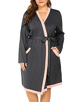 Women Plus Size Kimono Robes Cotton Knee Length Robe Knit Bathrobe Soft Sleepwear Ladies Loungewear XL-5XL