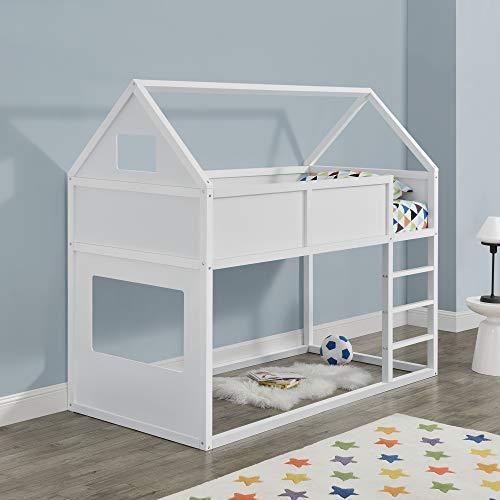 Kinder Hochbett mit Leiter 90x200cm Etagenbett mit Lattenrost Haus-Optik Bettenhaus für Jugendliche Hausbett aus Holz Kinderbett in weiß