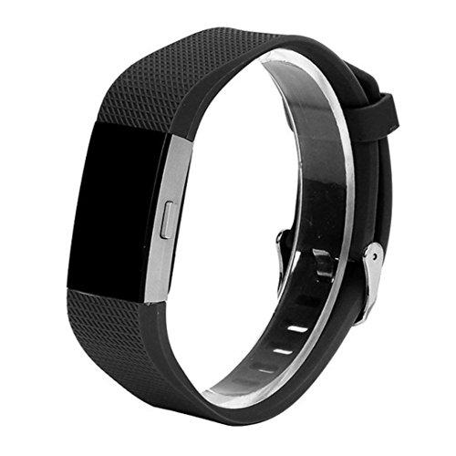 Pour Fitbit Charge 2, Malloom Bracelet en silicone et bracelet en silicone pour Fitbit Charge 2 (Pour Fitbit Charge 2, Noir)