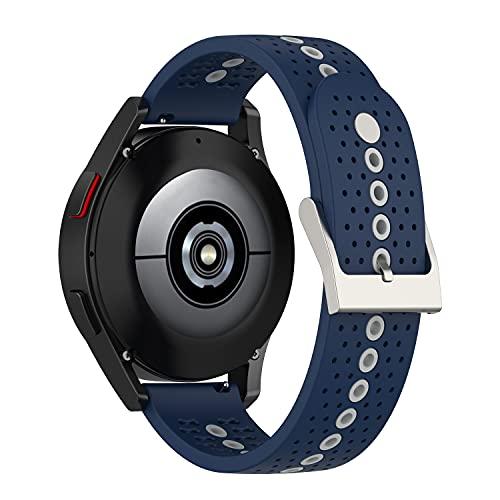 Correas de reloj Sunbose de 20mm para hombres y mujeres, correa de repuesto de silicona compatible con Galaxy Watch 4 40mm/Watch4 Classic 42mm, Huawei Watch 2 , Ticwatch E. (Azul medianoche + gris)