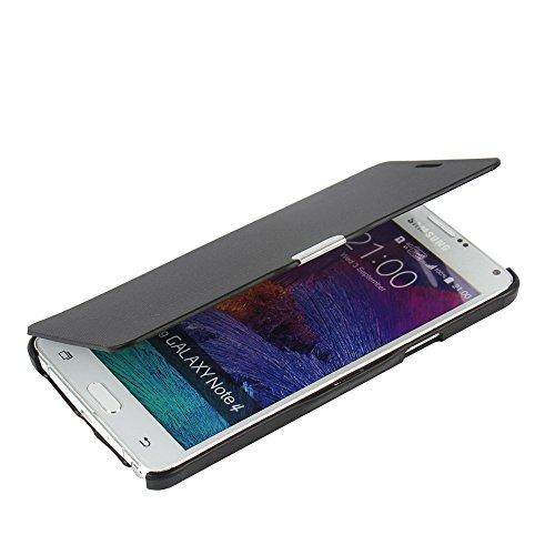 MTRONX für Samsung Galaxy Note 4 Hülle, Hülle Cover Schutzhülle Tasche Etui Klapphülle Magnetisch Dünn Leder Folio Flip für Samsung Galaxy Note 4 N9100 - Schwarz(MG-BK)