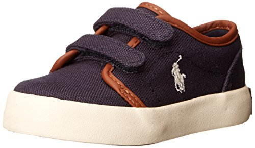 Polo Ralph Lauren Kids Boys' Ethan Low EZ Sneaker, Navy Canvas, 4 M US Toddler