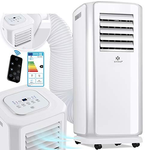 KESSER® - Klimaanlage Mobiles Klimagerät 4in1 kühlen, Luftentfeuchter, lüften, Ventilator - 7000 BTU/h (2.000 Watt) - Klima mit Montagematerial, Fernbedienung und 24h Timer, Nachtmodus EEK: A Weiß