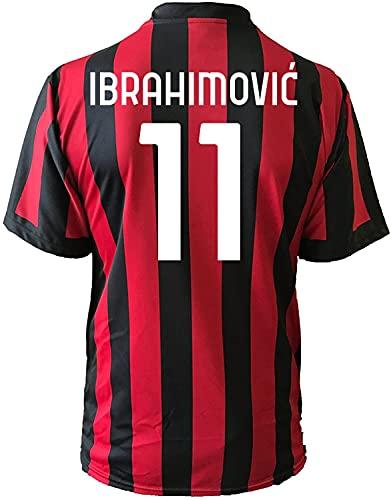 3rsport Camiseta Milan Ibrahimovic 11, réplica autorizada para niño (tallas 2, 4, 6, 8, 10, 12), adulto (S, M, L, XL), rojo y negro, 8-9 anni