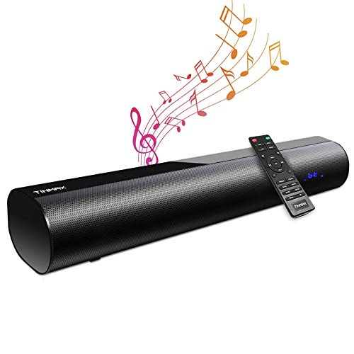 Sound Bar, 106dB, 60W Sound Bars for TV, 18.9 Inch Portable 2.0 Soundbar 3D Surround Sound Wireless Bluetooth 5.0 TV Speaker with Remote Control (4 EQ Modes, Optical/Aux/USB, Wall Mountable, DSP)