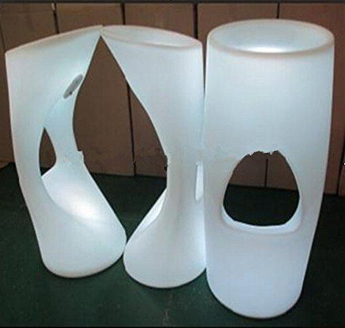 Gowe Tabouret de bar lumineux LED rechargeable incassable pour intérieur/extérieur