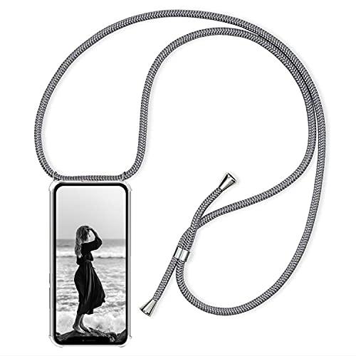YuhooTech Cadena de teléfono móvil compatible con iPhone 13 Pro, funda para teléfono móvil con cordón – Funda para teléfono móvil con cordón – Cordón con funda para colgar en gris