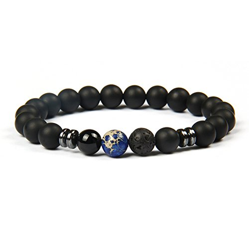 ® Bracciale con perle di lava nera o perle di onice (per uomini e donne) Bracciali di perle con una perla blu marmorizzato bracciale schiavo nero brac
