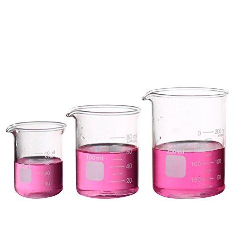 Borosilikatglas Bechergläser Set Becherglas mit klare Ausguss 50ml 100ml 250ml Meßbecher