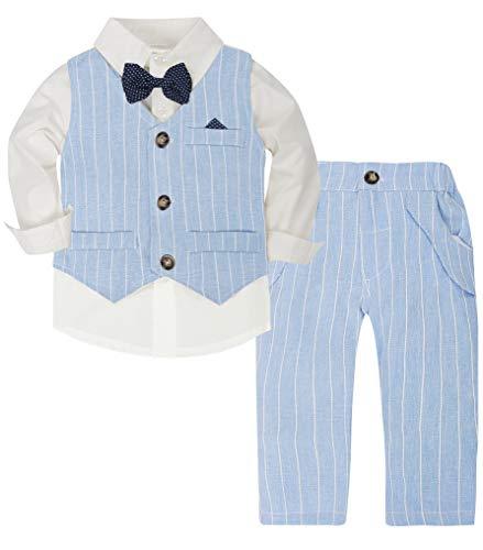 CARETOO Baby-Jungen Bekleidungssets Strampler Taufkleidung Anzug Set Langarm Hemd+Hose+Weste+Fliege Krawatte Gentleman Suit Hosen Baumwolle für Weihnachten Hochzeitsfest