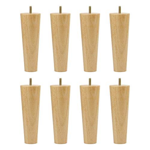 YeVhear - Patas redondas de madera de caucho de 6 pulgadas de altura M8 x 0,8 pulgadas, pernos roscados para sofá, silla, escritorio, armario, patas de repuesto para 8 unidades