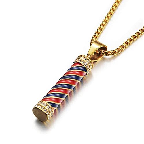 JIEZ Hip Hop Iced out Barber Pole Lamp Colgante Collar para Mujeres Hombres Color Oro Cadenas de Acero Inoxidable Hiphop American Jewelry 60cm