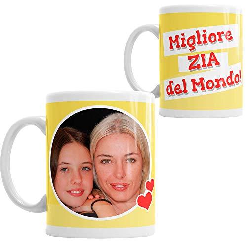 LaMAGLIERIA Tazza Personalizzata con la Tua Foto Migliore Zia del Mondo! - Custom Mug Fotografica in Ceramica Idea Regalo Zia, cod. DES05