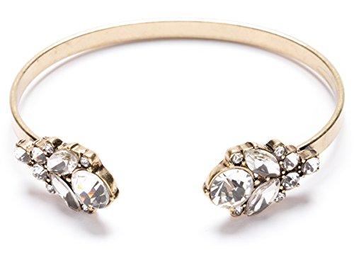 Happiness Boutique Damen Offener Armreif Kristall in Klarfarbe | Statement Armband Cuff Gold Armschmuck für Frauen nickelfrei