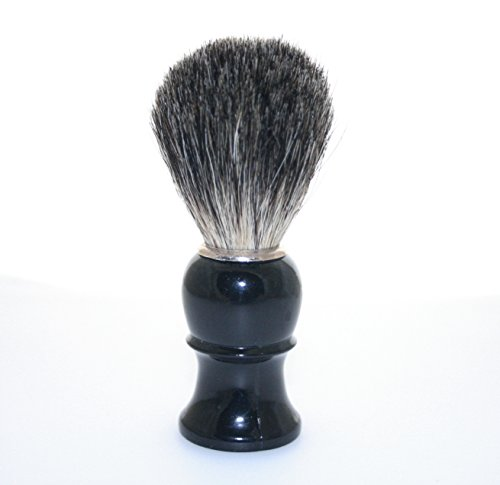 Blaireau de rasage en poils Brosse en noir/blanc Enchâssé solide Poignée en plastique – Il ne vous serez pas. (Noir)