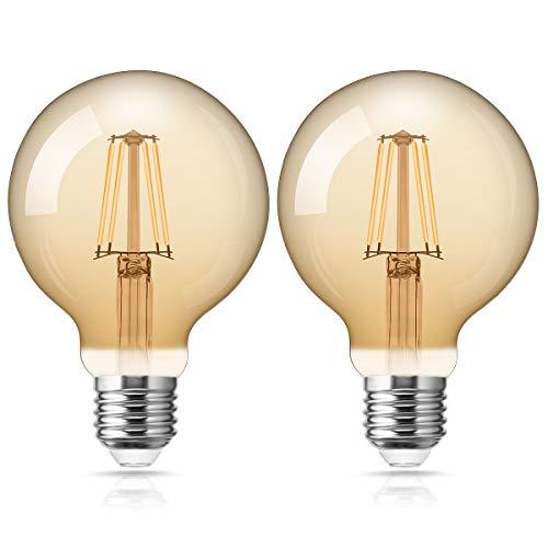 Fulighture Edison Vintage Glühbirne,E27 LED Filament Lampe,4W Ersetzt 40W,400 LM,Warmweiss 2700K, Amber Glas, Glühbirne Vintage Ideal für Nostalgie und Retro Beleuchtung,Nicht Dimmbar 2 Stück