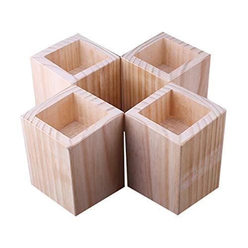 4 Packungen hölzerne Betterhöhungen, quadratische Möbelheber, Rillenerhöhung – Tischerhöhungen zum Anheben von Sofa-Beinen und Schrank-Beinen (Größe B
