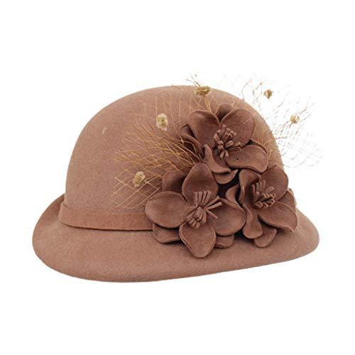 Sombrero para mujer, estilo vintage de los años 20, de fieltro sintético, con velo de malla de flores, adornado para...