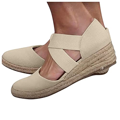 Aniywn Womens Espadrille Platform Wedge Sandals Closed Toe Mid Heel Elastic Band Ankle Strap Sandals Low Wedge Sandals Beige