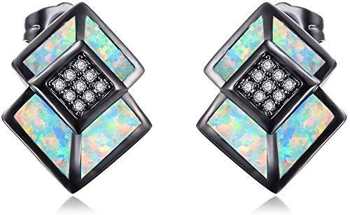 Joyería de Plata del ópalo de Fuego Pequeño Perno Prisionero de la Muchacha Exquisita esterlina hipoalergénico Pendientes Diamante Blanco for la Mujer (Color : B)