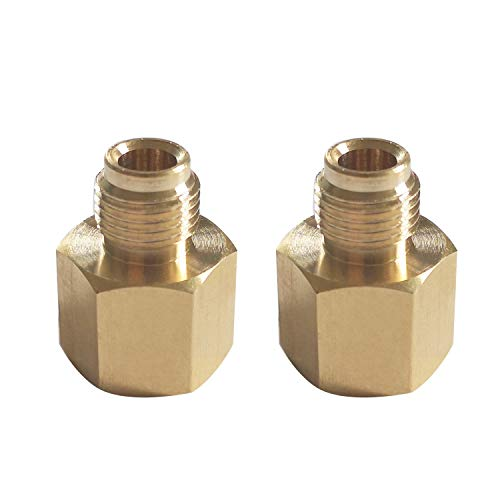 MENSI 1/4' Female Pipe NPT x 1/4' Inverted Male Flare Brass Convert Adapter Fitting Components for RV Propane Pigtail Hose Pack of 2