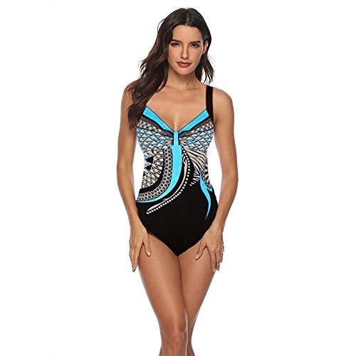 Bikini Mujer 2019 Verano Traje de baño Correa con Estampado Retro De Una Pieza Halter Triángulo Elegante (Azul, XL)