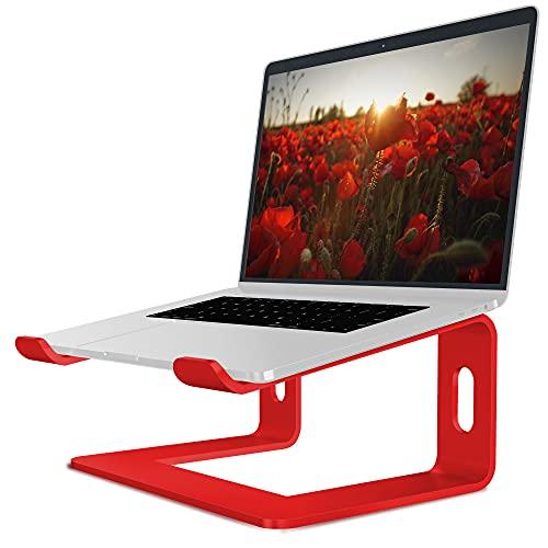 Soundance - Supporto per computer portatile in alluminio, supporto ergonomico per scrivania, supporto in metallo compatibile con notebook da 10 a 15,6', colore: rosso
