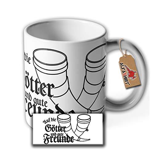Tasse Götter und Freunde Wikinger Met Trinkhorn Odin Langhaus Trinkhalle #36371