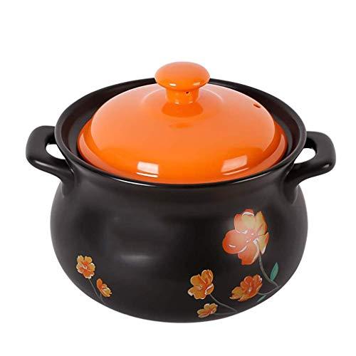YLJYJ Olla de cerámica para Avena - Cazuela de Plato Negro Redondo de cerámica/Olla de Barro/Olla de Barro/Utensilios de Cocina de cerámica (Color: C) (al Aire Libre)