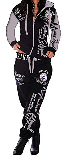 Jaylvis Damen Jogginganzug Trainingsanzug Hose + Jacke 2tlg Set Fitness große größen ARMS A.2254 Schwarz-Grau XXL